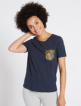 Pure Cotton Lace Pocket Short Sleeve T-Shirt, NAVY, catlanding