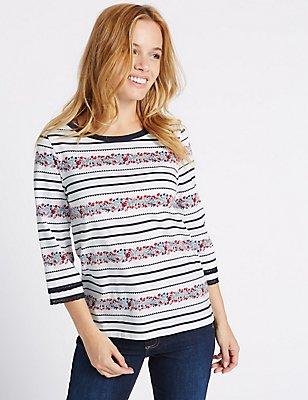 PETITE Pure Cotton Floral Striped T-Shirt, IVORY MIX, catlanding