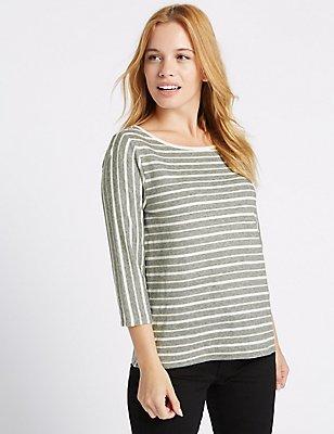 PETITE Striped 3/4 Sleeve T-Shirt, IVORY MIX, catlanding