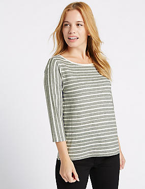 PETITE Striped 3/4 Sleeve T-Shirt, IVORY MIX, catlanding