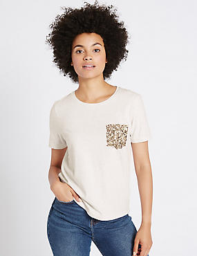 Pure Cotton Sequin Pocket T-Shirt, IVORY MIX, catlanding