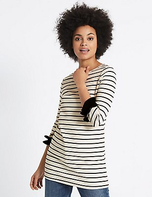 Cotton Rich Striped Ruffle Cuff Tunic, IVORY MIX, catlanding