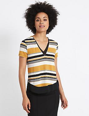 Striped V-Neck Short Sleeve T-Shirt, IVORY MIX, catlanding