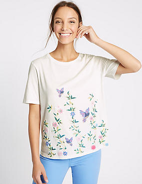 Modal Blend Puff Print Short Sleeve T-Shirt, IVORY MIX, catlanding