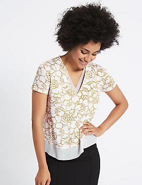 Floral Print V-Neck Short Sleeve T-Shirt, IVORY MIX, catlanding