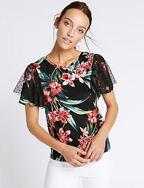 Floral Print Mesh Shoulder T-Shirt, BLACK MIX, catlanding
