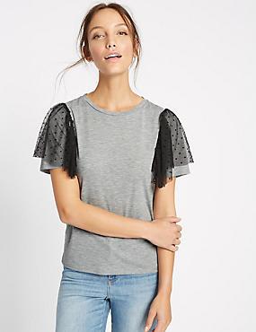 T-shirt à manches courtes, orné de tulle aux épaules, GRIS, catlanding