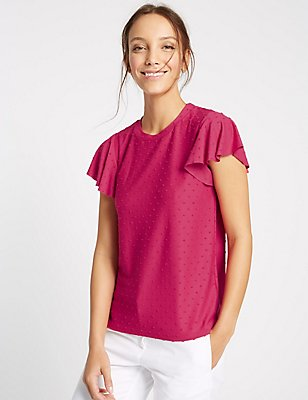 Spotty Frill Short Sleeve T-Shirt, BRIGHT PINK, catlanding