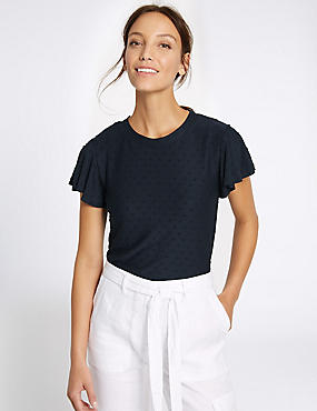 Spotty Frill Short Sleeve T-Shirt, NAVY, catlanding