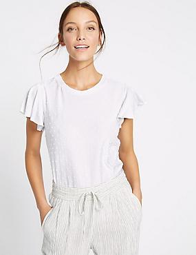 T-shirt à manches courtes, volants et motif pois, IVOIRE, catlanding