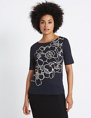 Floral Print Slash Neck Half Sleeve T-Shirt, NAVY MIX, catlanding