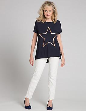 Modal Blend Star Print Short Sleeve T-Shirt, NAVY, catlanding