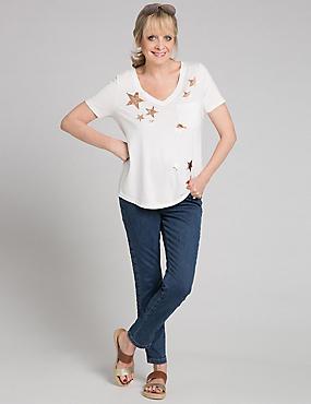 Modal Blend Printed Short Sleeve T-Shirt, WHITE MIX, catlanding