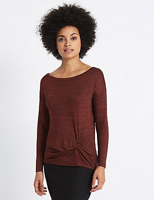 Metallic Knot Front Long Sleeve T-Shirt, BERRY, catlanding