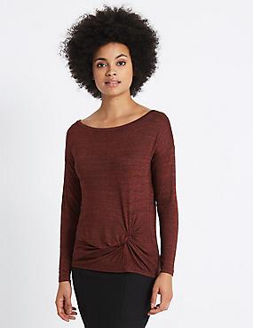Metallic Knot Front Long Sleeve T-Shirt, BERRY, catlanding