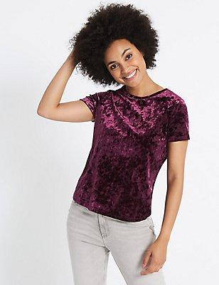 Velour Round Neck Short Sleeve T-Shirt, , catlanding