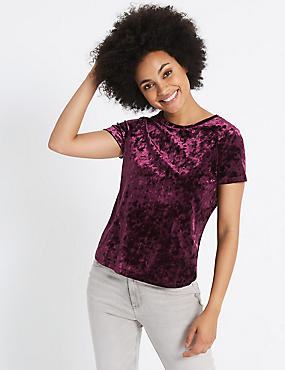 Velour Round Neck Short Sleeve T-Shirt, DARK GRAPE, catlanding