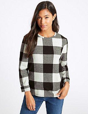 Checked Round Neck ¾ Sleeve Sweatshirt, , catlanding