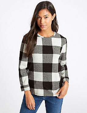Checked Round Neck Long Sleeve Sweatshirt, GREY MIX, catlanding