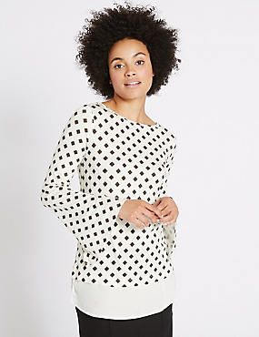 Geometric Print Mock Hem Split Sleeve Tunic, IVORY MIX, catlanding