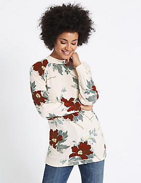 Floral Print Round Neck Long Sleeve Tunic, PINK MIX, catlanding