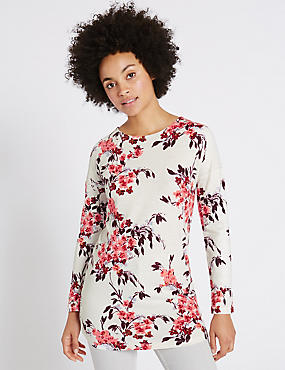 Floral Print Round Neck Long Sleeve Tunic, IVORY MIX, catlanding