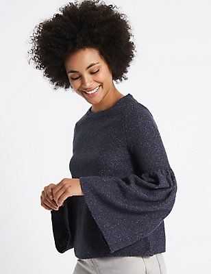 Textured Round Neck Flute Sleeve Top, NAVY MIX, catlanding