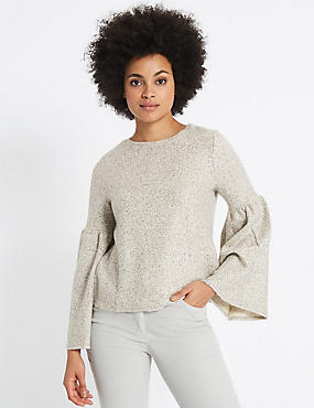Textured Round Neck Flute Sleeve Sweatshirt, NATURAL MIX, catlanding