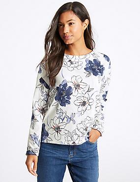Floral Print Long Sleeve Sweatshirt, IVORY MIX, catlanding