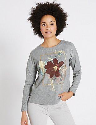 Printed Round Neck Long Sleeve Sweatshirt, GREY MIX, catlanding