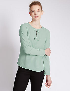 Long Sleeve Bow Shell Top
