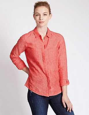 Pure Linen Shirt, RED, catlanding