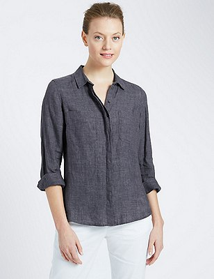 Pure Linen Shirt, NAVY, catlanding