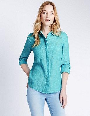 Pure Linen Shirt, AQUA MARINE, catlanding