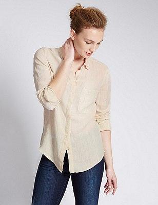Pure Linen Shirt, FLAX, catlanding