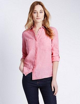 Pure Linen Shirt, CANDY, catlanding