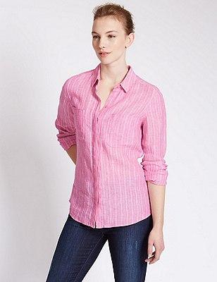 Pure Linen Striped Shirt, PINK MIX, catlanding