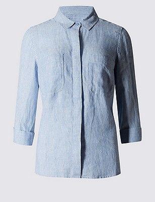 Pure Linen Striped Shirt, BLUE MIX, catlanding