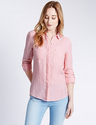 Pure Linen Striped Shirt, PINK MIX, catlanding