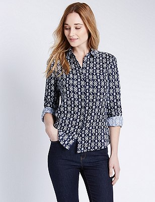 Pure Linen Geometric Print Shirt, NAVY MIX, catlanding