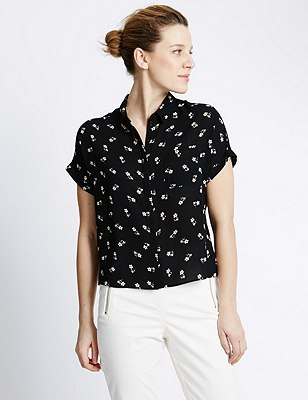 Floral Cropped Boxy Shirt, BLACK MIX, catlanding