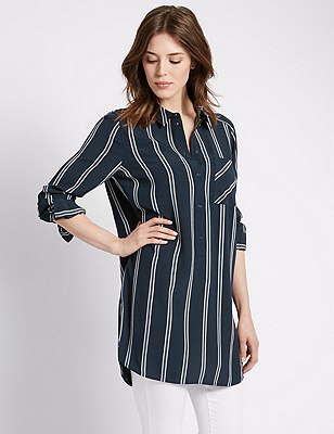 Collared Neck Longline Striped Shirt, NAVY MIX, catlanding
