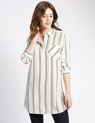 Striped Longline Shirt, IVORY MIX, catlanding