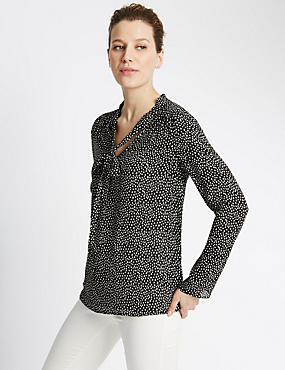 Spotted Bow Blouse