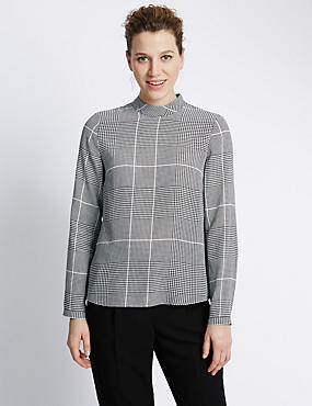 Polo Neck Checked Shell Top