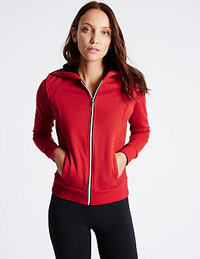 Cotton Blend Hooded Neck Long Sleeve Jacket, RED, catlanding