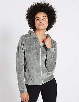Cotton Rich Velour Long Sleeve Sweatshirt, GREY, catlanding