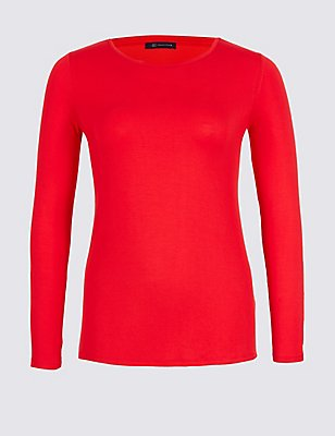 PLUS Modal Rich Round Neck T-Shirt, BRIGHT RED, catlanding