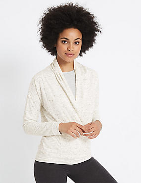 Wrap V-Neck Long Sleeve T-Shirt, IVORY MIX, catlanding