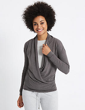 Wrap V-Neck Long Sleeve T-Shirt, CHARCOAL, catlanding
